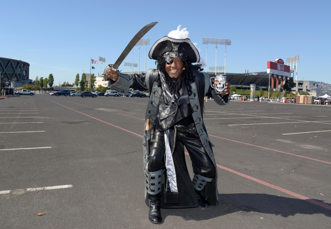Aug 23, 2013; Oakland, CA, USA; Oakland Raiders fan Azel Grasty aka Oaktown Pirate poses before the game against the Chicago Bears at O.co Coliseum. Mandatory Credit: Kirby Lee-USA TODAY Sports