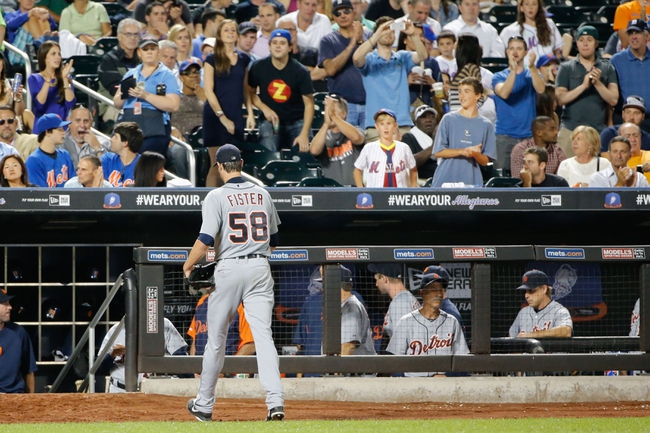 Aug 23, 2013; New York, NY, USA; Detroit Tigers starting pitcher Doug Fister (58) heads to the dugout after being relieved during the seventh inning against the New York Mets at Citi Field.  Tigers won 6-1.  Mandatory Credit: Anthony Gruppuso-USA TODAY Sports