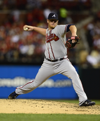 Aug 23, 2013; St. Louis, MO, USA; Atlanta Braves relief pitcher David Carpenter (48) throws to a St. Louis Cardinals batter during the eighth inning at Busch Stadium. St. Louis defeated Atlanta 3-1. Mandatory Credit: Jeff Curry-USA TODAY Sports