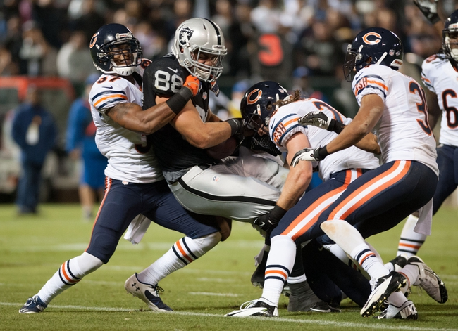 Aug 23, 2013; Oakland, CA, USA; Oakland Raiders tight end Nick Kasa (88) crosses the goal line against the Chicago Bears during the third quarter at O.Co Coliseum. The Chicago Bears defeated the Oakland Raiders 34-26. Mandatory Credit: Ed Szczepanski-USA TODAY Sports