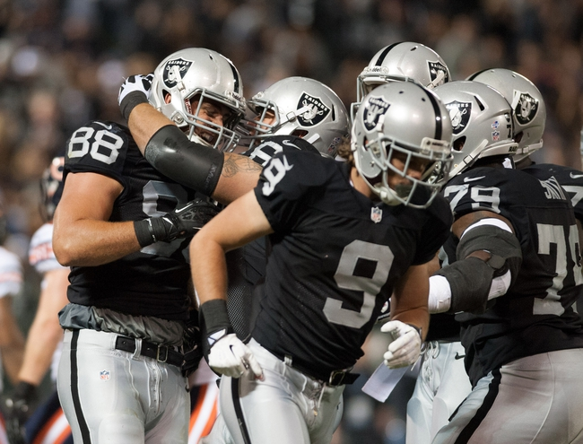 Aug 23, 2013; Oakland, CA, USA; Oakland Raiders tight end Nick Kasa (88) celebrates with team mates after scoring a touch down against the Chicago Bears during the third quarter at O.Co Coliseum. The Chicago Bears defeated the Oakland Raiders 34-26. Mandatory Credit: Ed Szczepanski-USA TODAY Sports