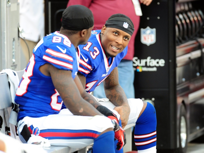 Aug 24, 2013; Landover, MD, USA; Buffalo Bills wide receiver Stevie Johnson (13) talks to wide receiver Marquise Goodwin (88) during the game against the Washington Redskins at FedEx Field. Mandatory Credit: Evan Habeeb-USA TODAY Sports