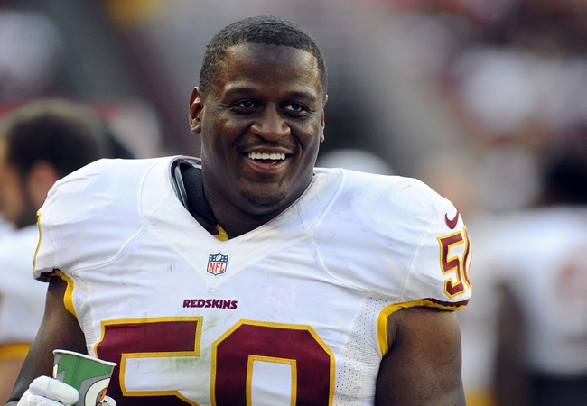 Aug 24, 2013; Landover, MD, USA; Washington Redskins linebacker Rob Jackson (50) on the sidelines during the second half against the Buffalo Bills at FedEX Field. Mandatory Credit: Brad Mills-USA TODAY Sports