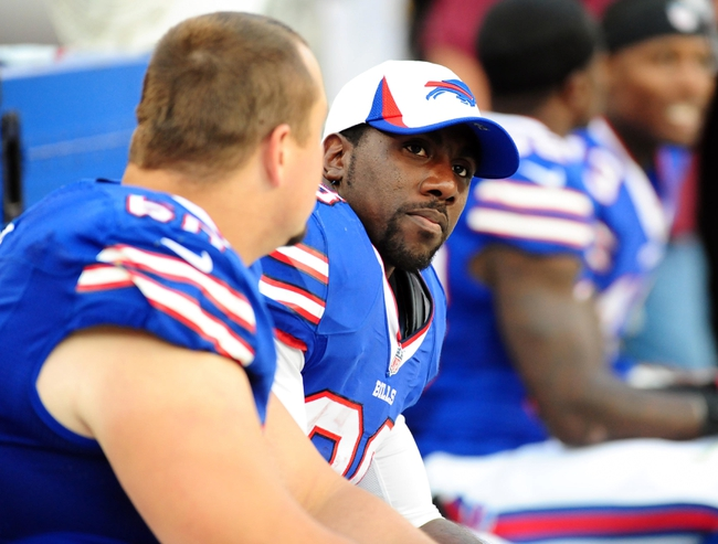 Aug 24, 2013; Landover, MD, USA; Buffalo Bills running back C.J. Spiller (28) looks on during the game against the Washington Redskins at FedEx Field. Mandatory Credit: Evan Habeeb-USA TODAY Sports