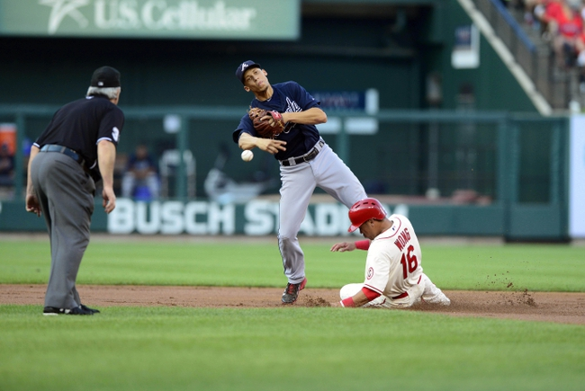 Aug 24, 2013; St. Louis, MO, USA; Atlanta Braves shortstop Andrelton Simmons (19) forces out St. Louis Cardinals second baseman Kolten Wong (16) but is unable to complete the double play during the second inning at Busch Stadium. Mandatory Credit: Jeff Curry-USA TODAY Sports