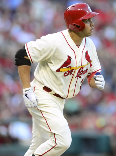 Aug 24, 2013; St. Louis, MO, USA; St. Louis Cardinals right fielder Carlos Beltran (3) watches his solo home run off of Atlanta Braves starting pitcher Julio Teheran (not pictured) during the third inning at Busch Stadium. Mandatory Credit: Jeff Curry-USA TODAY Sports