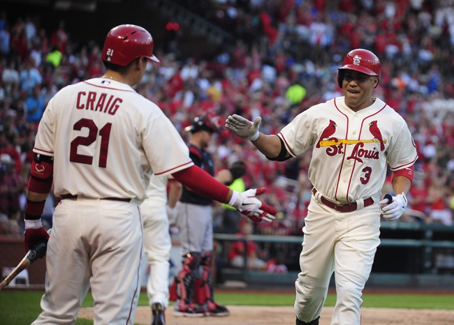 Aug 24, 2013; St. Louis, MO, USA; St. Louis Cardinals right fielder Carlos Beltran (3) celebrates with first baseman Allen Craig (21) after hitting a solo home run off of Atlanta Braves starting pitcher Julio Teheran (not pictured) during the third inning at Busch Stadium. Mandatory Credit: Jeff Curry-USA TODAY Sports