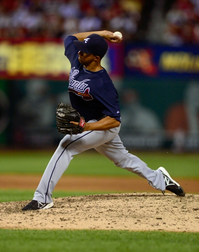 Aug 24, 2013; St. Louis, MO, USA; Atlanta Braves relief pitcher Anthony Varvaro (38) throws to a St. Louis Cardinals batter during the eighth inning at Busch Stadium. St. Louis defeated Atlanta 6-2. Mandatory Credit: Jeff Curry-USA TODAY Sports