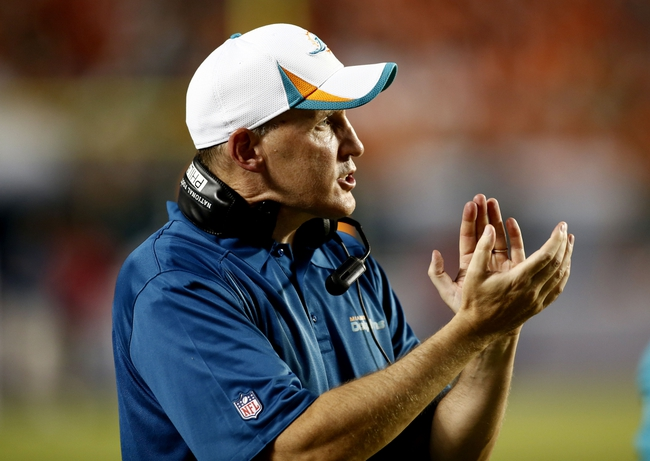 Aug 24, 2013; Miami Gardens, FL, USA;  Miami Dolphins head coach Joe Philbin in the second half of a game against the Tampa Bay Buccaneers at Sun Life Stadium. Tampa Bay won 17-16.  Mandatory Credit: Robert Mayer-USA TODAY Sports