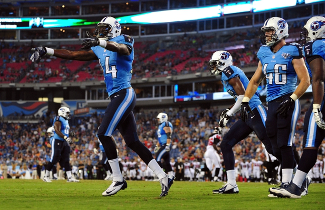 Aug 24, 2013; Nashville, TN, USA; Tennessee Titans wide receiver Michael Preston (14) celebrates after scoring a touchdown against the Atlanta Falcons during the second half at LP Field. The Titans beat the Falcons 27-16. Mandatory Credit: Don McPeak-USA TODAY Sports