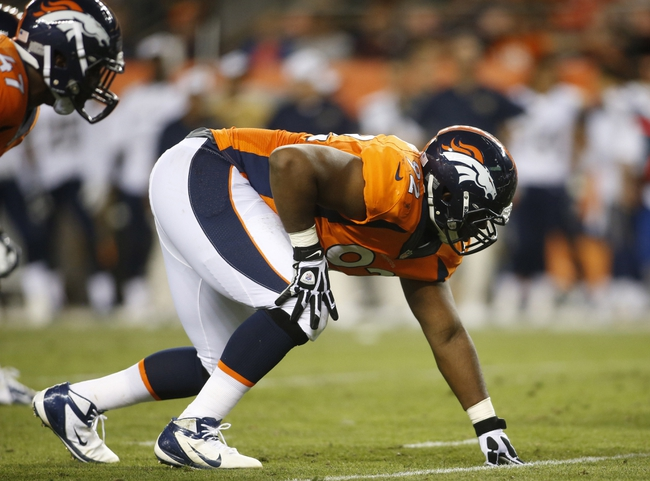 Aug 24, 2013; Denver, CO, USA; Denver Broncos defensive tackle Sylvester Williams (92) lines up during the second half against the St. Louis Rams at Sports Authority Field at Mile High. The Broncos won 27-26.  Mandatory Credit: Chris Humphreys-USA TODAY Sports