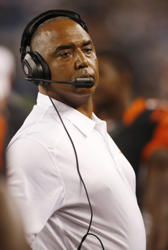 Aug 24, 2013; Arlington, TX, USA; Cincinnati Bengals head coach Marvin Lewis on the sidelines during the game against the Dallas Cowboys at AT&T Stadium.  The Cowboys won 24-18. Mandatory Credit: Tim Heitman-USA TODAY Sports