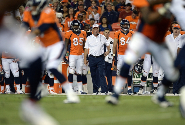 Aug 24, 2013; Denver, CO, USA; Denver Broncos head coach John Fox during the game against the St. Louis Rams at Sports Authority Field .The Broncos defeated the Rams 27-26. Mandatory Credit: Ron Chenoy-USA TODAY Sports