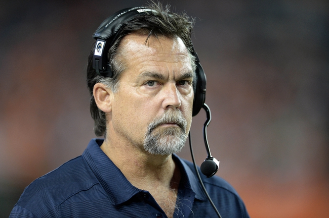 Aug 24, 2013; Denver, CO, USA; St. Louis Rams head coach Jeff Fisher during the game against the Denver Broncos at Sports Authority Field .The Broncos defeated the Rams 27-26. Mandatory Credit: Ron Chenoy-USA TODAY Sports