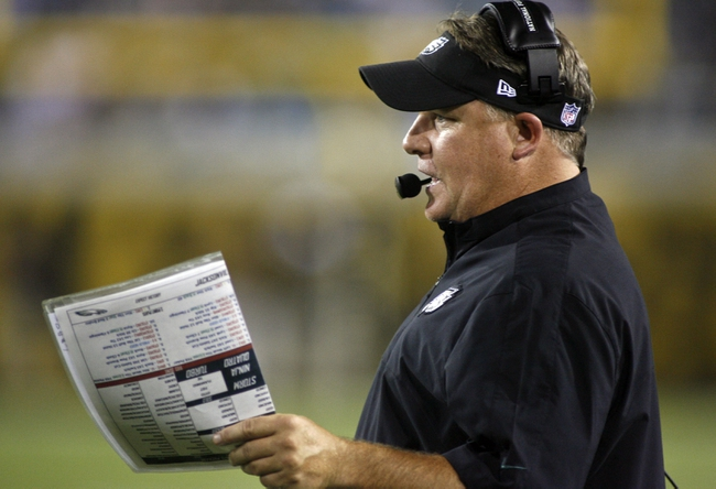 Aug 24, 2013; Jacksonville, FL, USA; Philadelphia Eagles head coach Chip Kelly  calls a play during the second quarter of their game against the Jacksonville Jaguars at EverBank Field. The Philadelphia Eagles beat the Jacksonville Jaguars 31-24. Mandatory Credit: Phil Sears-USA TODAY Sports