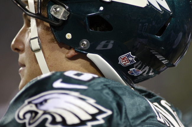 Aug 24, 2013; Jacksonville, FL, USA; The Heads Up sticker can be seen on the back of the helmet of Philadelphia Eagles linebacker Travis Long (48) during the second quarter of their game against the Jacksonville Jaguars at EverBank Field. The Philadelphia Eagles beat the Jacksonville Jaguars 31-24. Mandatory Credit: Phil Sears-USA TODAY Sports
