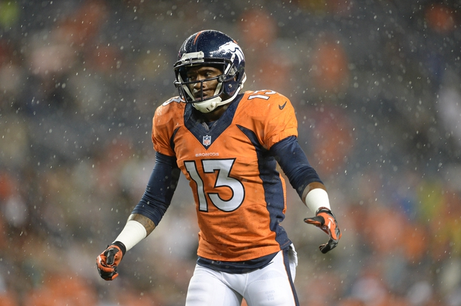 Aug 24, 2013; Denver, CO, USA; Denver Broncos wide receiver Kemonte' Bateman (13) during the game against the St. Louis Rams at Sports Authority Field .The Broncos defeated the Rams 27-26. Mandatory Credit: Ron Chenoy-USA TODAY Sports