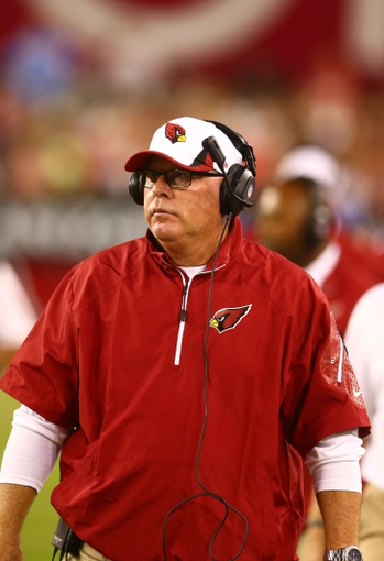 Aug. 24, 2013; Glendale, AZ, USA: Arizona Cardinals head coach Bruce Arians in the second half against the San Diego Chargers during a preseason game at University of Phoenix Stadium. Mandatory Credit: Mark J. Rebilas-USA TODAY Sports