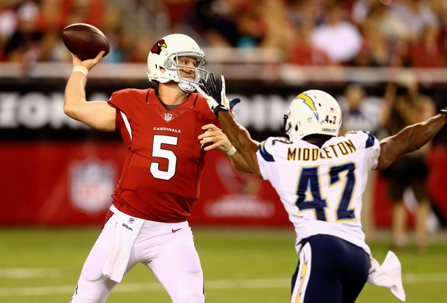 Aug. 24, 2013; Glendale, AZ, USA: Arizona Cardinals quarterback Drew Stanton (5) throws a pass in the third quarter against the San Diego Chargers during a preseason game at University of Phoenix Stadium. Mandatory Credit: Mark J. Rebilas-USA TODAY Sports