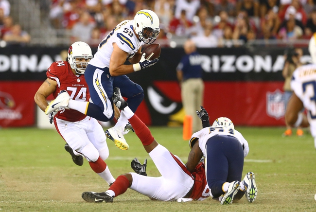 Aug. 24, 2013; Glendale, AZ, USA: San Diego Chargers linebacker Andrew Gachkar (59) intercepts the ball in the third quarter against the Arizona Cardinals during a preseason game at University of Phoenix Stadium. Mandatory Credit: Mark J. Rebilas-USA TODAY Sports