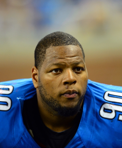 Aug 22, 2013; Detroit, MI, USA; Detroit Lions defensive tackle Ndamukong Suh (90) during a preseason game against the New England Patriots at Ford Field. Mandatory Credit: Andrew Weber-USA TODAY Sports