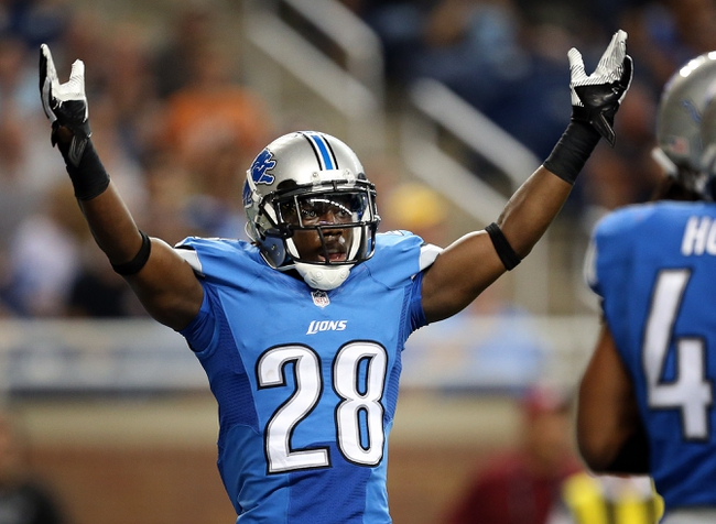 Aug 22, 2013; Detroit, MI, USA; Detroit Lions cornerback Bill Bentley (28) celebrates a fourth down stop against the New England Patriots during 2nd half at Ford Field. Lions won 40-9.  Mandatory Credit: Mike Carter-USA TODAY Sports