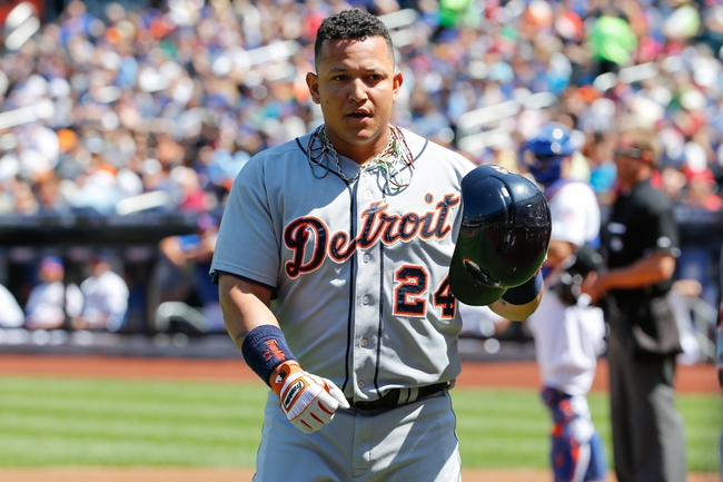 Aug 25, 2013; New York, NY, USA;  Detroit Tigers third baseman Miguel Cabrera (24) heads to the dugout after his two run home run during the first inning against the New York Mets at Citi Field. Mandatory Credit: Anthony Gruppuso-USA TODAY Sports
