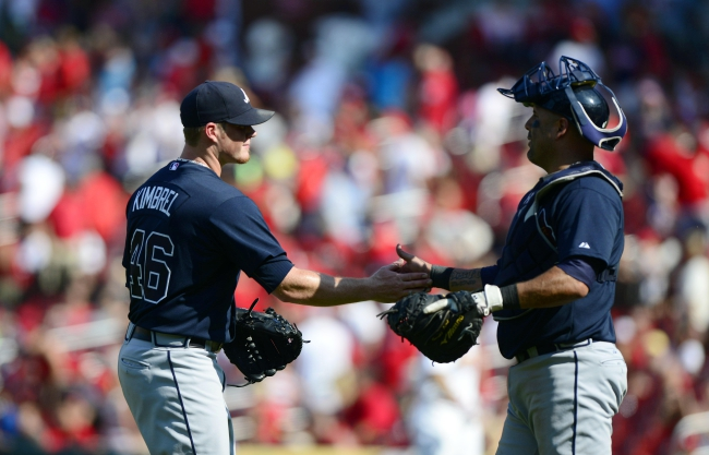 Aug 25, 2013; St. Louis, MO, USA; Atlanta Braves relief pitcher Craig Kimbrel (46) celebrates with catcher Gerald Laird (11) after defeating the St. Louis Cardinals at Busch Stadium. Atlanta defeated St. Louis 5-2. Mandatory Credit: Jeff Curry-USA TODAY Sports