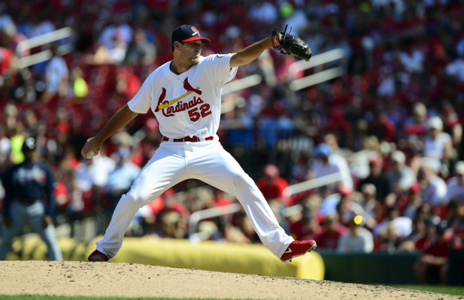 Aug 25, 2013; St. Louis, MO, USA; St. Louis Cardinals relief pitcher Michael Wacha (52) throws to a Atlanta Braves batter during the eighth inning at Busch Stadium. Atlanta defeated St. Louis 5-2. Mandatory Credit: Jeff Curry-USA TODAY Sports