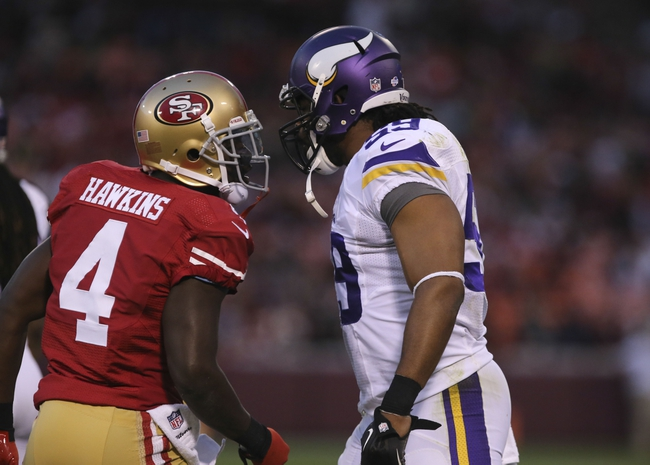 Aug 25, 2013; San Francisco, CA, USA; San Francisco 49ers wide receiver Lavelle Hawkins (4) is called for unsportsmanlike conduct against Minnesota Vikings linebacker Desmond Bishop (59) after making a catch during the fourth quarter at Candlestick Park. The San Francisco 49ers defeated the Minnesota Vikings 34-14. Mandatory Credit: Kelley L Cox-USA TODAY Sports