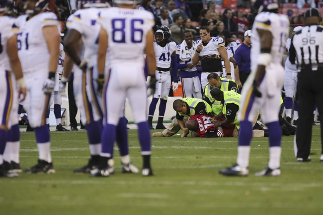 Aug 25, 2013; San Francisco, CA, USA; Security guard tackle a San Francisco 49ers fan after rushing the field during the fourth quarter against the Minnesota Vikings at Candlestick Park. The San Francisco 49ers defeated the Minnesota Vikings 34-14. Mandatory Credit: Kelley L Cox-USA TODAY Sports