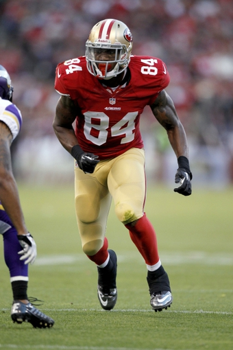 Aug 25, 2013; San Francisco, CA, USA; San Francisco 49ers wide receiver Jon Baldwin (84) prepares to run a route against Minnesota Vikings in the fourth quarter at Candlestick Park. The 49ers defeated the Vikings 34-14. Mandatory Credit: Cary Edmondson-USA TODAY Sports