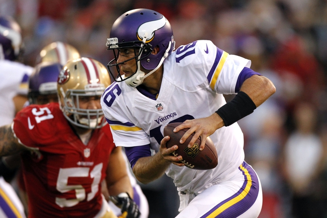 Aug 25, 2013; San Francisco, CA, USA; Minnesota Vikings quarterback Matt Cassel (16) runs the ball against the San Francisco 49ers in the fourth quarter at Candlestick Park. The 49ers defeated the Vikings 34-14. Mandatory Credit: Cary Edmondson-USA TODAY Sports