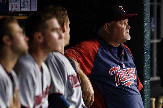 Aug 21, 2013; Detroit, MI, USA; Minnesota Twins manager Ron Gardenhire (35) sits in dugout against the Detroit Tigers at Comerica Park. Mandatory Credit: Rick Osentoski-USA TODAY Sports