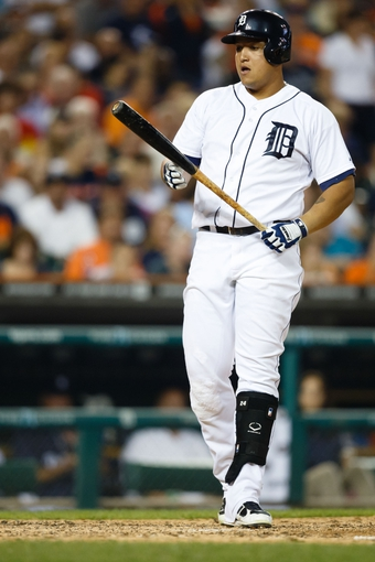 Aug 21, 2013; Detroit, MI, USA; Detroit Tigers third baseman Miguel Cabrera (24) at bat against the Minnesota Twins at Comerica Park. Mandatory Credit: Rick Osentoski-USA TODAY Sports