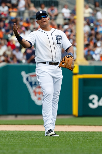 Aug 22, 2013; Detroit, MI, USA; Detroit Tigers third baseman Miguel Cabrera (24) during the game against the Minnesota Twins at Comerica Park. Mandatory Credit: Rick Osentoski-USA TODAY Sports
