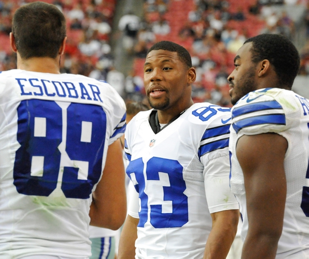 Aug 17, 2013; Phoenix, AZ, USA; Dallas Cowboys wide receiver Terrance Williams (83) on the sidelines during the fourth quarter against the Arizona Cardinals at University of Phoenix Stadium. The Cardinals defeated the Cowboys 12-7. Mandatory Credit: Casey Sapio-USA TODAY Sports