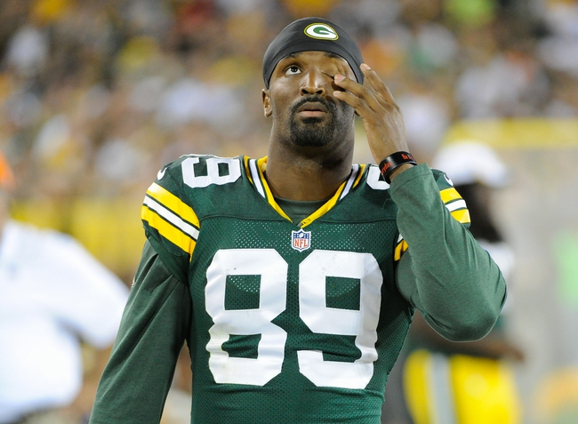 Aug 23, 2013; Green Bay, WI, USA;  Green Bay Packers wide receiver James Jones (89) during the game against the Seattle Seahawks at Lambeau Field. Mandatory Credit: Benny Sieu-USA TODAY Sports