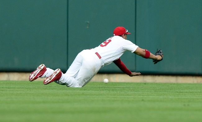 Aug 26, 2013; St. Louis, MO, USA; St. Louis Cardinals center fielder Jon Jay (19) dives unsuccessfully for a ball hit by Cincinnati Reds third baseman Todd Frazier (not pictured) during the second inning at Busch Stadium. Mandatory Credit: Jeff Curry-USA TODAY Sports