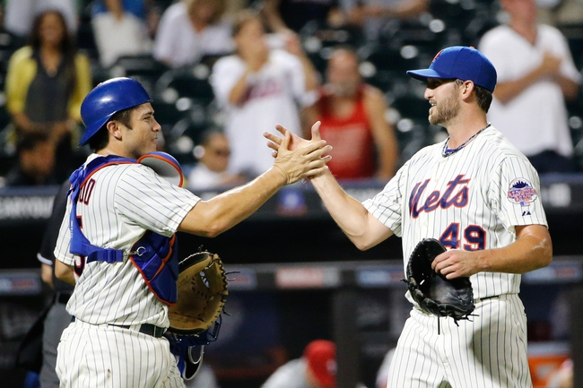 Aug 27, 2013; New York, NY, USA;  New York Mets starting pitcher Jonathon Niese (49) and catcher Travis d'Arnaud (15) celebrate the win against the Philadelphia Phillies at Citi Field. Mets won 5-0.  Mandatory Credit: Anthony Gruppuso-USA TODAY Sports