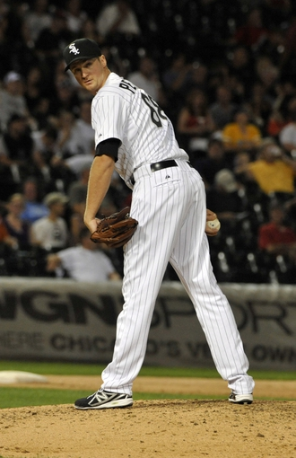 Aug 27, 2013; Chicago, IL, USA;  Chicago White Sox relief pitcher Jake Petricka (68) pitches against the Houston Astros during the eighth inning at U.S. Cellular Field. The Chicago White Sox defeated the Houston Astros 4-3. Mandatory Credit: David Banks-USA TODAY Sports