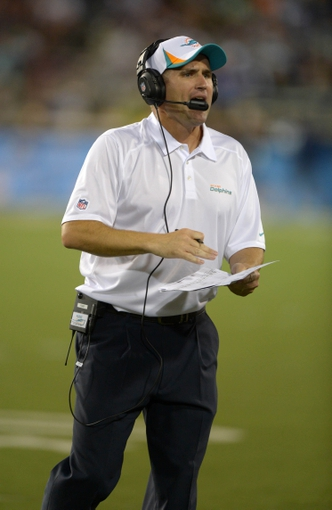 Aug 4, 2013; Canton, OH, USA; Miami Dolphins special teams coordinator Darren Rizzi reacts during the 2013 Hall of Fame Game against the Dallas Cowboys at Fawcett Stadium. The Cowboys defeated the Dolphins 24-20. Mandatory Credit: Kirby Lee-USA TODAY Sports
