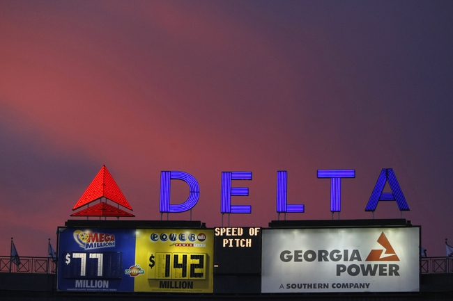 Aug 29, 2013; Atlanta, GA, USA; General view of Delta sign at Turner Field during a game between the Atlanta Braves and Cleveland Indians in the third inning. Mandatory Credit: Brett Davis-USA TODAY Sports