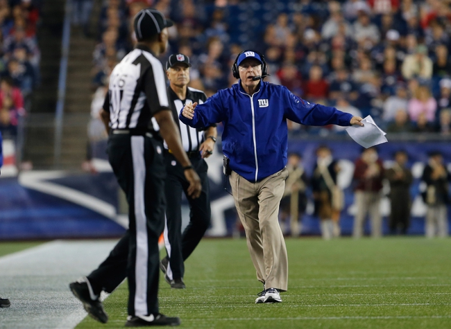 Aug 29, 2013; Foxborough, MA, USA; New York Giants head coach Tom Coughlin reacts from the sideline as they take on the New England Patriots in the second quarter at Gillette Stadium. Mandatory Credit: David Butler II-USA TODAY Sports