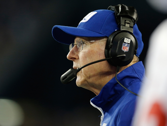 Aug 29, 2013; Foxborough, MA, USA; New York Giants head coach Tom Coughlin watches from the sideline as they take on the New England Patriots in the first quarter at Gillette Stadium. Mandatory Credit: David Butler II-USA TODAY Sports