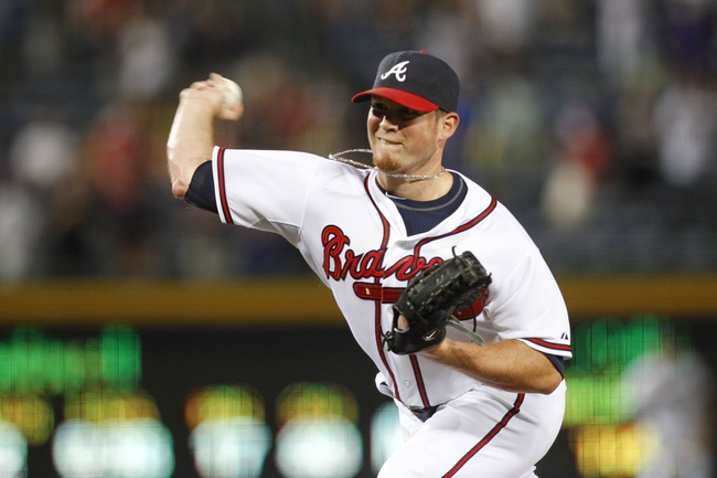 Aug 29, 2013; Atlanta, GA, USA; Atlanta Braves relief pitcher Craig Kimbrel (46) throws a pitch against the Cleveland Indians in the ninth inning at Turner Field. The Braves defeated the Indians 3-1. Mandatory Credit: Brett Davis-USA TODAY Sports