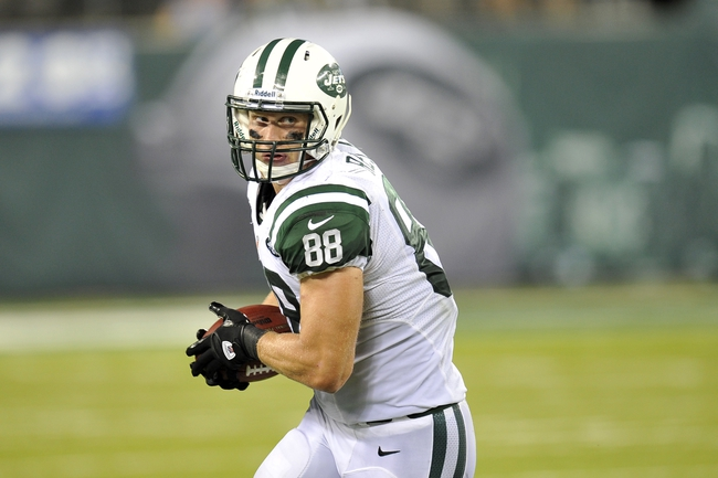 Aug 29, 2013; East Rutherford, NJ, USA; New York Jets tight end Konrad Reuland (88) makes a catch against the Philadelphia Eagles during the second half of a preseason game at Metlife Stadium. The Jets won 27-20. Mandatory Credit: Joe Camporeale-USA TODAY Sports