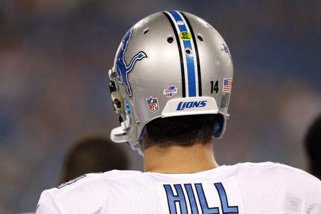 Aug 29, 2013; Orchard Park, NY, USA; Detroit Lions quarterback Shaun Hill (14) on the sideline against the Buffalo Bills during the second half at Ralph Wilson Stadium. The Lions beat the Bills 35-13. Mandatory Credit: Kevin Hoffman-USA TODAY Sports