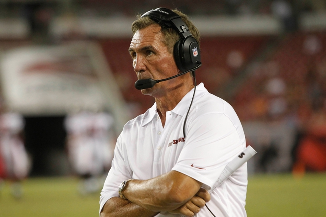 Aug 29, 2013; Tampa, FL, USA; Washington Redskins head coach Mike Shanahan during the second half against the Tampa Bay Buccaneers at Raymond James Stadium. The Redskins won 30-12. Mandatory Credit: Kim Klement-USA TODAY Sports