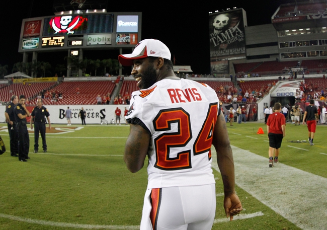 Aug 29, 2013; Tampa, FL, USA; Tampa Bay Buccaneers cornerback Darrelle Revis (24) after the game against the Washington Redskins at Raymond James Stadium. The Redskins won 30-12. Mandatory Credit: Kim Klement-USA TODAY Sports
